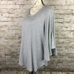 Pleione Striped Grey Bell Sleeve Ribbed Knit Top